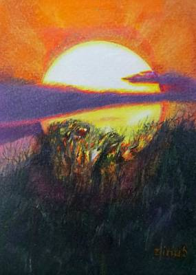 Colored Pencil Abstract Drawing - Sunset I by Zina Stromberg