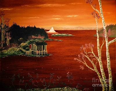 Shed Digital Art - Sunset Iceberg by Barbara Griffin