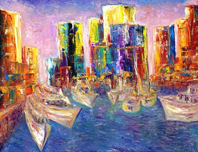 Sunset In A Harbor Art Print by Helen Kagan
