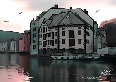 Sunset In Alesund Print by Michael Hodgson