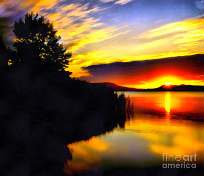 Water Filter Painting - Sunset In Balaton Lake by Odon Czintos