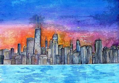 Sunset In Chicago Art Print