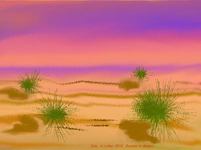 Digital Art - Sunset In Desert. by Dr Loifer Vladimir