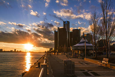Sunset In Detroit  Art Print