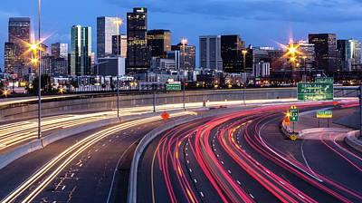 Denver Skyline Photograph - Sunset In Downtown Denver Overlooking by (c) Swapan Jha