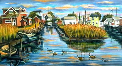 Canadian Geese Painting - Sunset In Hamilton Beach. by Madeline  Lovallo