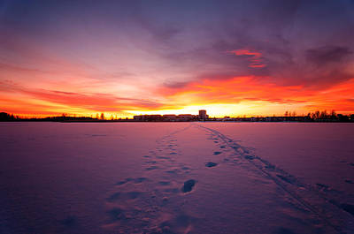 Sunset In Karlstad Sweden. Art Print by Micael  Carlsson