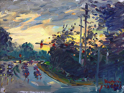 Norfolk Wall Art - Painting - Sunset In Military Highway Norfolk Va by Ylli Haruni