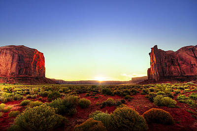 Sunset In Monument Valley Print by Alexey Stiop