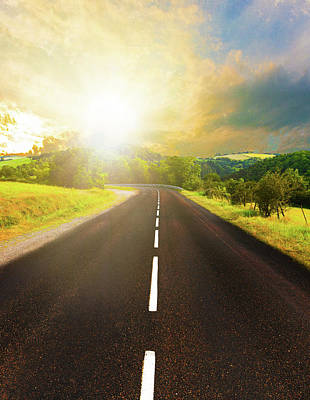 Photograph - Sunset In Nature With Endless Road by Drazen