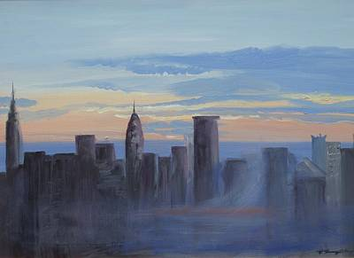 Sunset In New York Art Print by Patricia Kimsey Bollinger