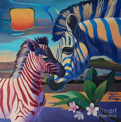 South Africa Zebra Painting - Sunset In Ngoro Ngoro by Tatyana Binovska