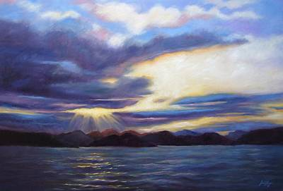 Reflection Of Sun Creates Amazing Sunset Painting - Sunset In Norway by Janet King