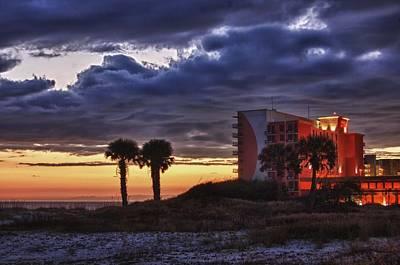 Pier Digital Art - Sunset In Orange Beach by Michael Thomas