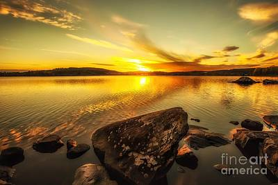 Art Print featuring the photograph Sunset In Our Little Village  by Rose-Maries Pictures