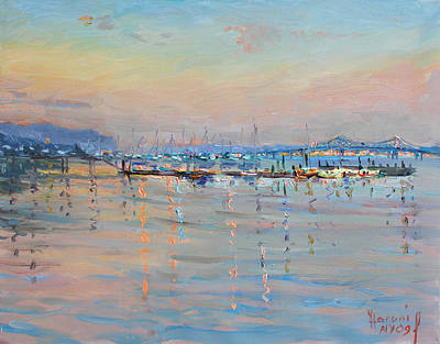Harbor Painting - Sunset In Piermont Harbor Ny by Ylli Haruni