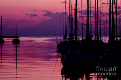 Sunset In Pink And Purple With Yachts At Bay Art Print