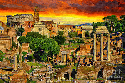 Painting - Sunset In Rome by Stefano Senise