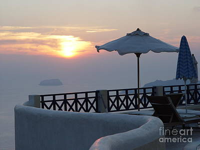 Art Print featuring the photograph Sunset In Santorini by Nancy Bradley