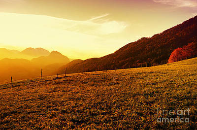 Sunset In The Autumn Austria Art Print by Sabine Jacobs