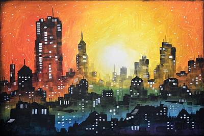 High Rise Painting - Sunset In The City by Amy Giacomelli