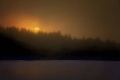 Photograph - Sunset In The Fog by Mikael Carstanjen