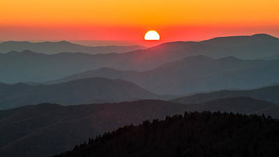 Photograph - Sunset In The Great Smoky Mountains by Pierre Leclerc Photography