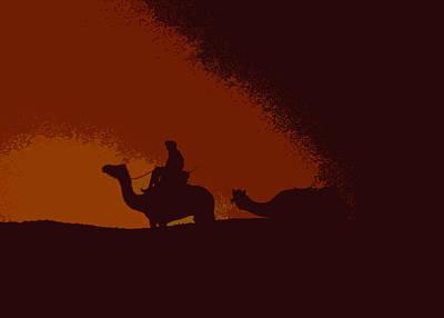 Camel Caravans Mixed Media - Sunset In The Sahara by Anthony Dalton