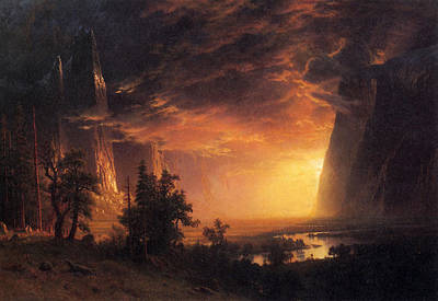 Yosemite Painting - Sunset In The Yosemite Valley by Albert Bierstadt