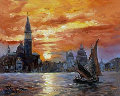 Sunset Painting - Sunset In Venice. San Giorgio by Irek Szelag