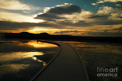 Sunset In Yellow Stone Art Print by Jeff Swan