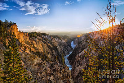 Sunset In Yellowstone Grand Canyon Art Print