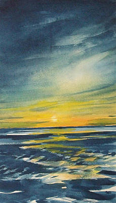 Art Print featuring the painting Sunset by Jane See
