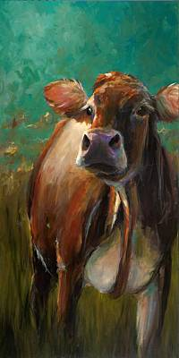 Cow Face Painting - Sunset Jersey by Cari Humphry