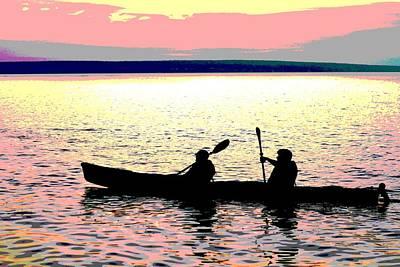 Sunset Kayak Poster Art Print by Dan Sproul