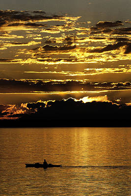 Puget Sound Photograph - Sunset Kayaker 1 by Paul Conrad