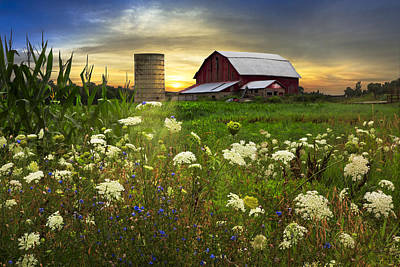 Silo Photograph - Sunset Lace Pastures by Debra and Dave Vanderlaan