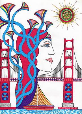 Sunset Lady At G. G. Bridge Art Print by Michael Friend
