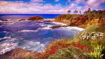 Painting - Sunset Laguna Beach California by Bob and Nadine Johnston