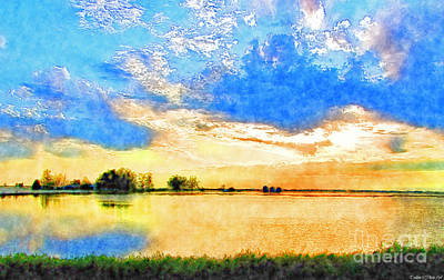 Photograph - Sunset Lake - Digital Paint by Debbie Portwood