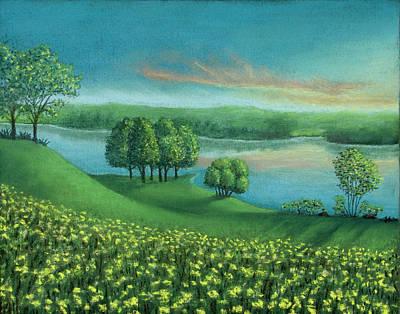 Pastel - Sunset Lake A by Michael Heikkinen