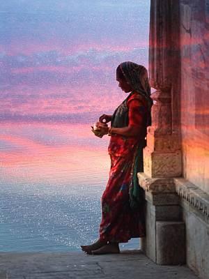 Sunset Lake Colorful Woman Rajasthani Udaipur India Art Print