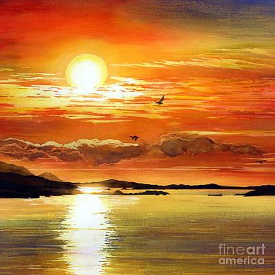 Painting - Sunset Lake by Hailey E Herrera