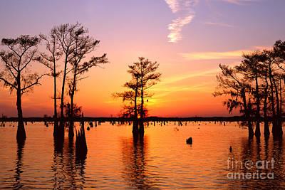 Sunset Lake In Louisiana Art Print