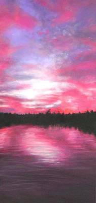 Painting - Sunset Lake Memphremagog In Quebec by Marie-Line Vasseur