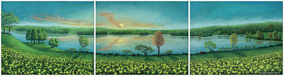 Pastel - Sunset Lake Triptych by Michael Heikkinen