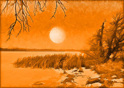 Art Print featuring the digital art Calm Lake Under Full Moon - Boulder County Colorado by Joel Bruce Wallach