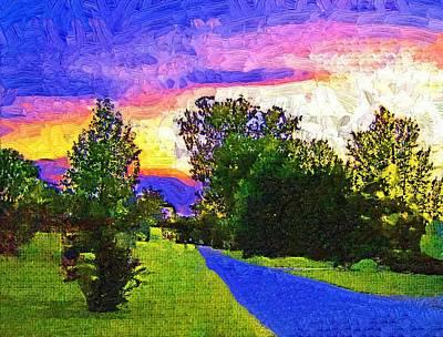 Sunset Landscape Fauvist Oil Art Print