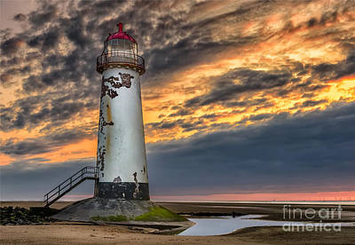 North Wales Photograph - Sunset Lighthouse by Adrian Evans