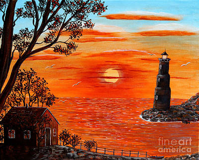 Lighthouse At Night Painting - Sunset Lighthouse by Barbara Griffin